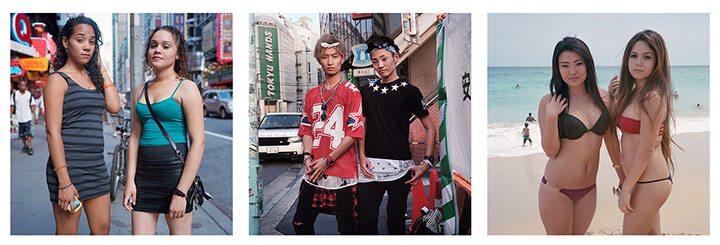 Photos of teens in, from left to right, New York City, Tokyo and Oahu, Hawaii.