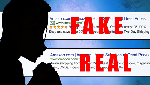 A graphic showing two Amazon search results - one with a red stamp over it reading Fake, another is Real