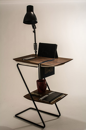 Photo of the grand prize winning entry, a desk with attached lamp, by architecture student Josh Miller. Shown at the 14th Annual Vellum competition.