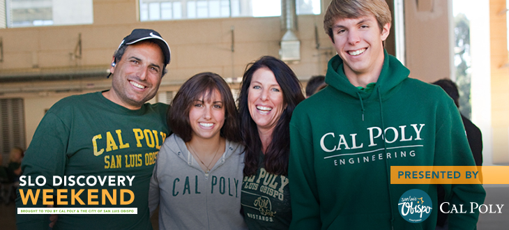 Photo of a family posing during SLO Discovery Weekend