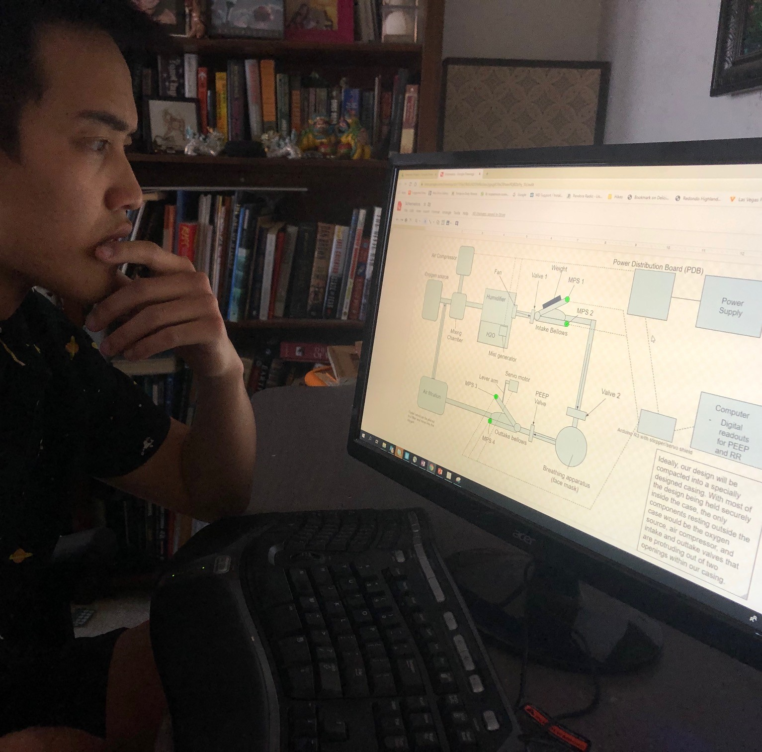 Cameron Wong, a mechanical engineering student, submitted a proposal for ventilators to the Department of Defense to help address the shortage of machines that help patients who cannot properly breathe on their own by pumping air into their lungs through a tube that has been inserted into their windpipes.