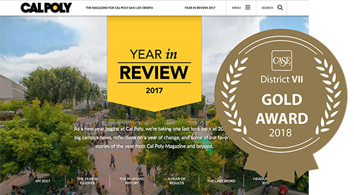 Screenshot of Cal Poly Magazine Year in Review issue online