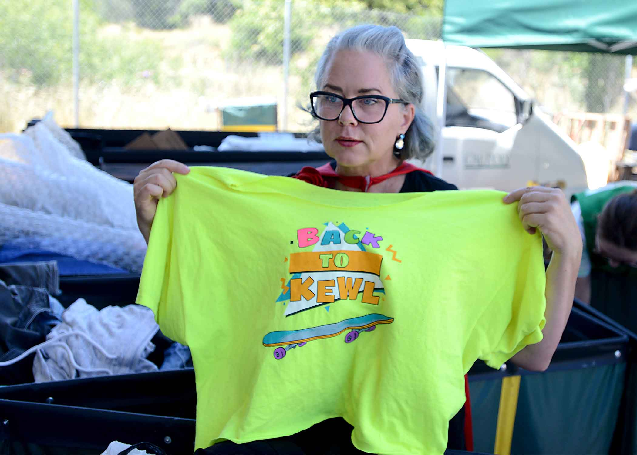 SLO Mayor Heidi Harmon sorts clothes
