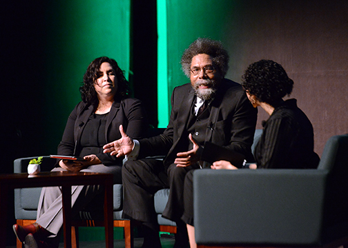 Cornel West at the fireside chat on Jan. 16 with Julie Garcia, left, of the Office of University Diversity and Inclusion, and student Leilani Hemmings.