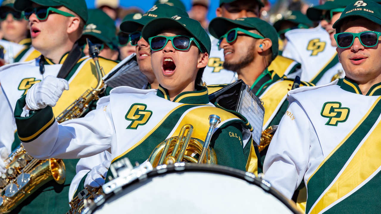 Members of Cal Poly's Mustang Marching Band