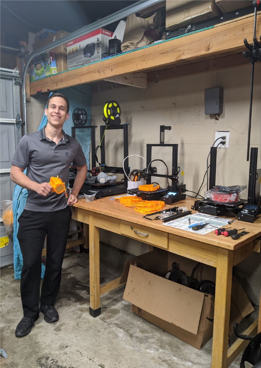 Cristian Sion, a double major in materials engineering and manufacturing engineering, and 3D printers in his garage.