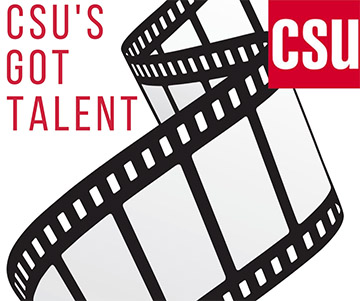 Graphic for CSU's Got Talent training showing a film scroll