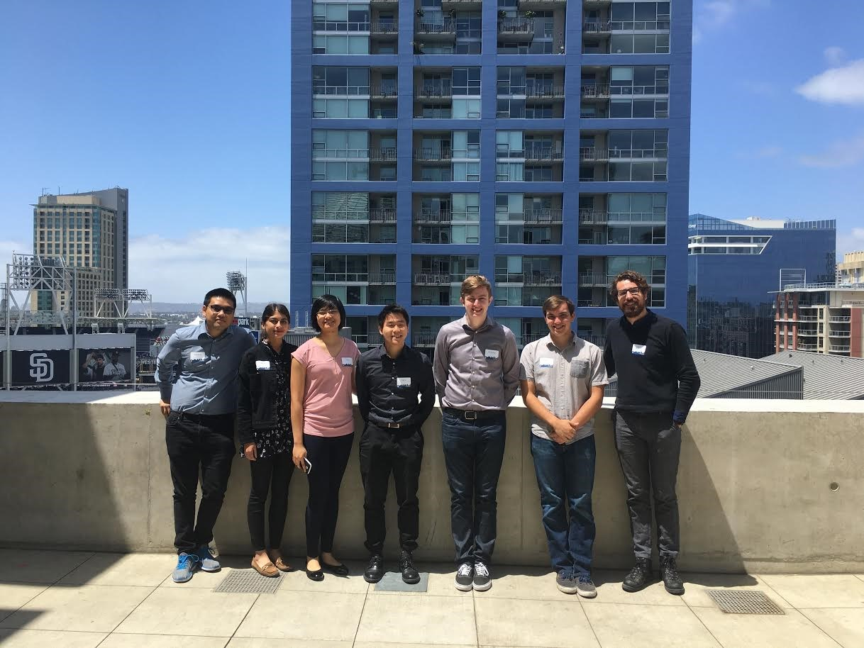 The team members (pictured from left to right) included Huy Dong (Computer Engineering), Jake Loveland (Computer Engineering), Nicholas Serres (Electrical Engineering), Sonia Mannan (Computer Engineering), Larry Hu (Software Engineering), Yiupang Chan (Computer Science) and team advisor Joseph Callenes-Sloan (assistant professor, Electrical and Computer Engineering).