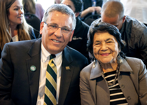 Cal Poly President Jeffrey D. Armstrong with civil rights leader Dolores Huerta