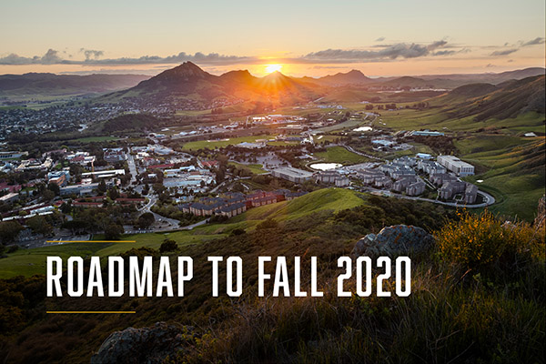 Screenshot of the Roadmap to Fall 2020 website with an aerial photo of Cal Poly in San Luis Obispo County.