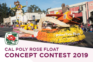 A photo from the 2018 Rose Parade with text reading Cal Poly Rose Float Concept Contest 2019