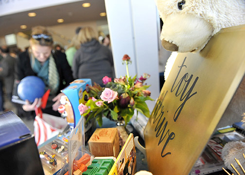 Toys donated by Cal Poly employees during the Dec. 7 holiday reception on campus.