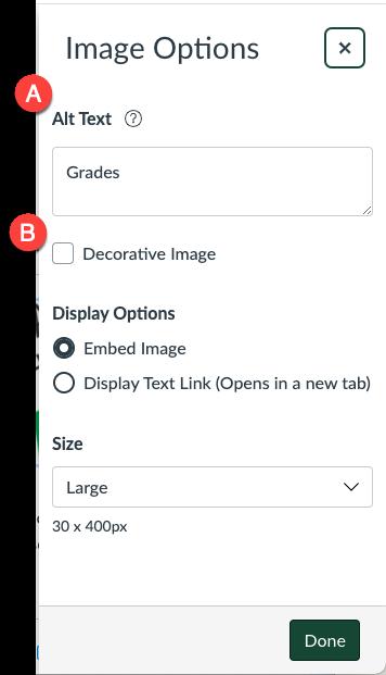 Canvas Image Options