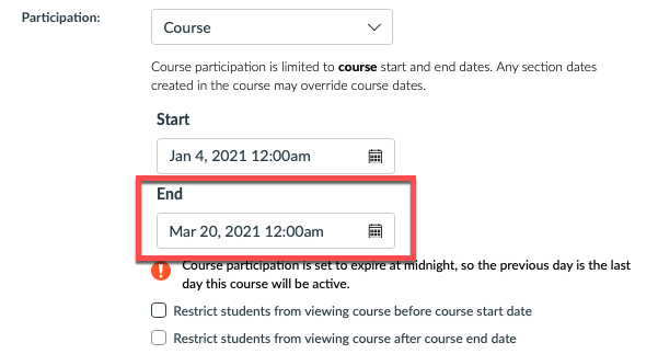 course End date screen image