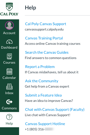 Canvas Help Faculty