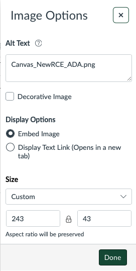 alt text field for images in Canvas