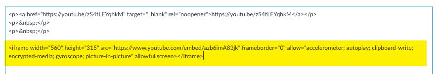 paste YouTube Embed code