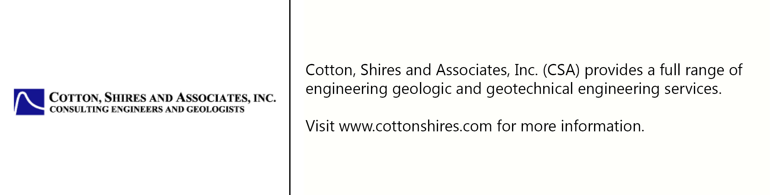 Cotton Shires and Assoc. logo with description of company