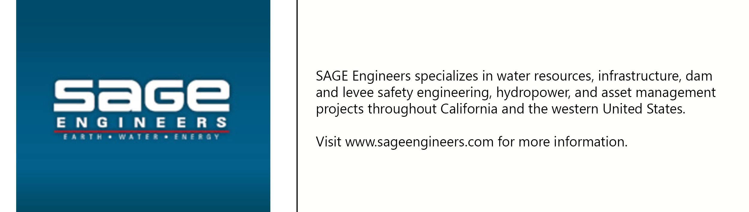 Sage Engineers logo with description of company