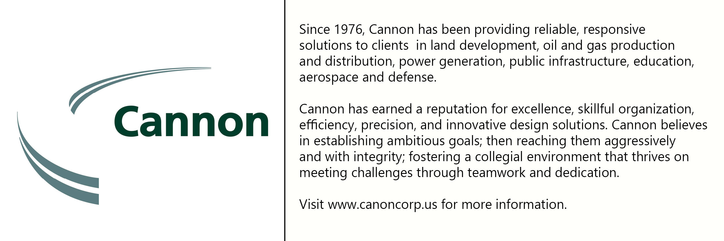 Cannon  logo with description of company