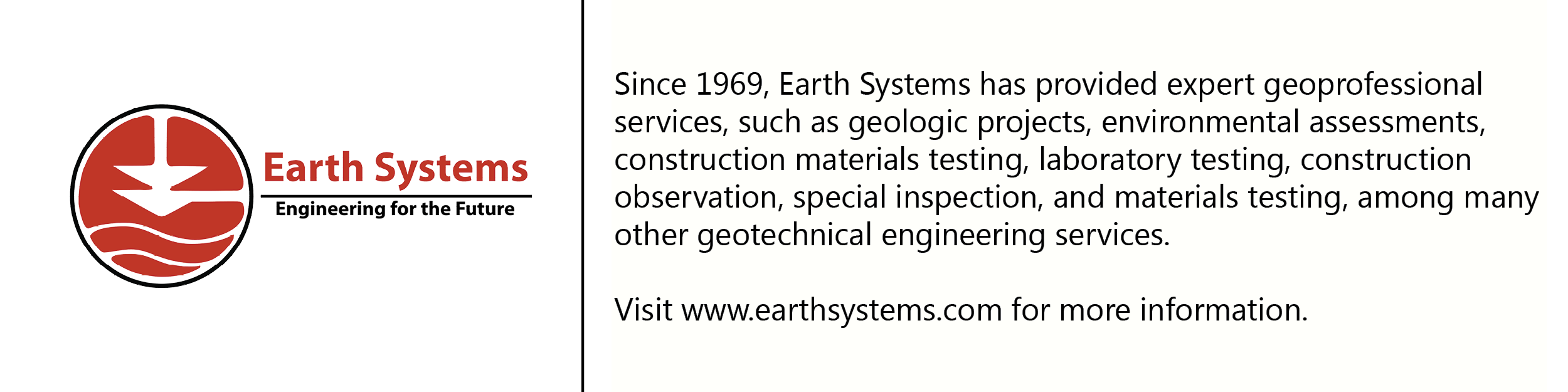 Earth Systems logo with description of company