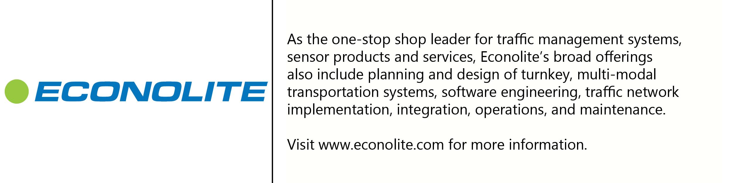 Econolite logo with description of company