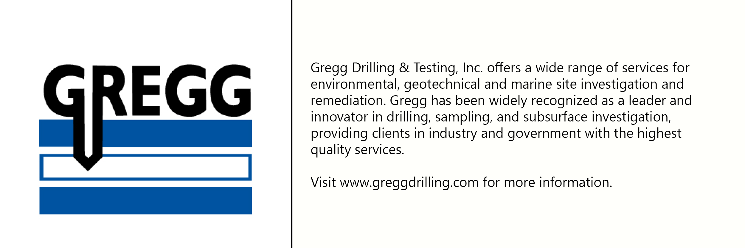 Gregg Engineering logo with description of company