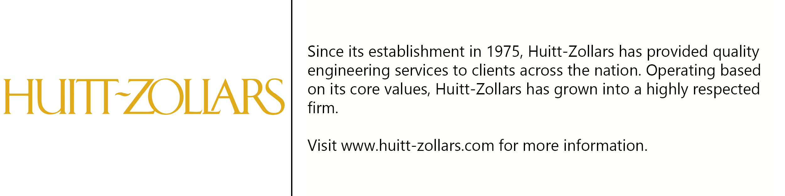 Huitt-Zollars logo with description of company
