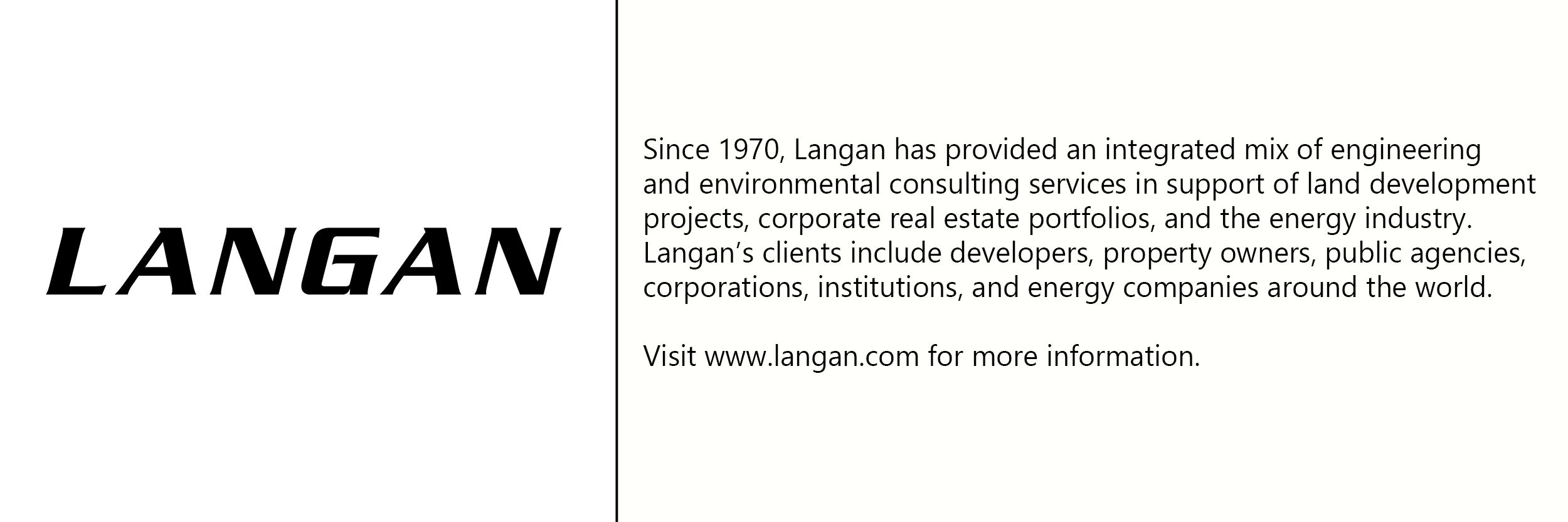Langan  logo with description of company