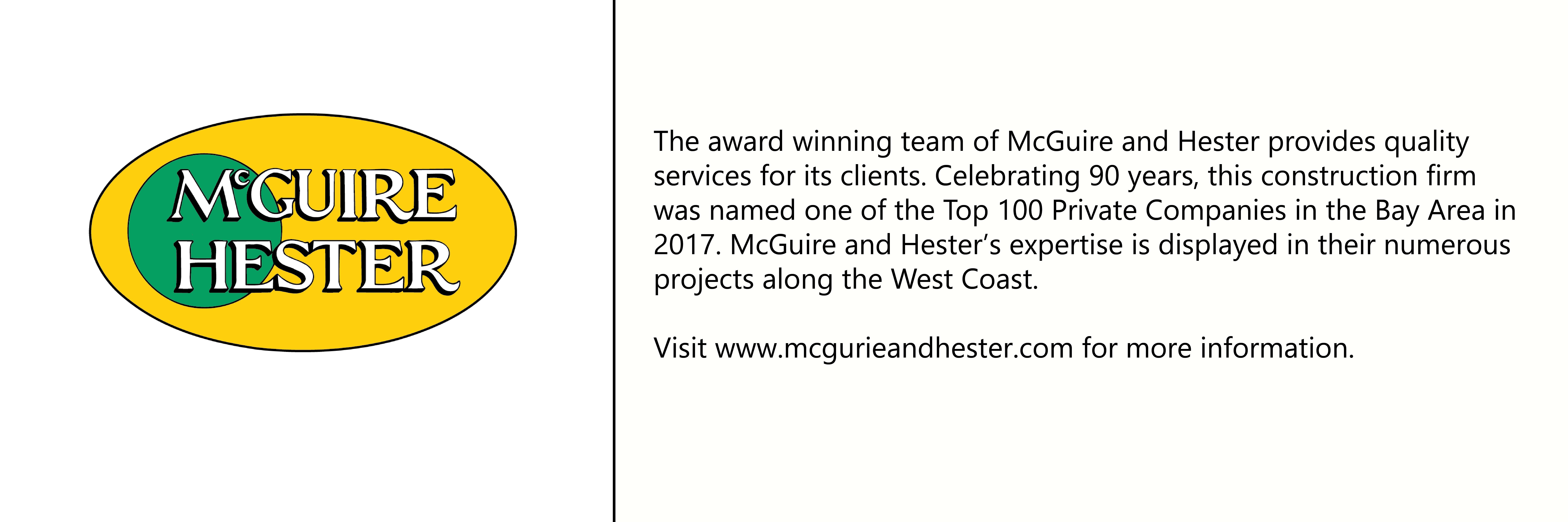 McGuire and Hester logo with description of company