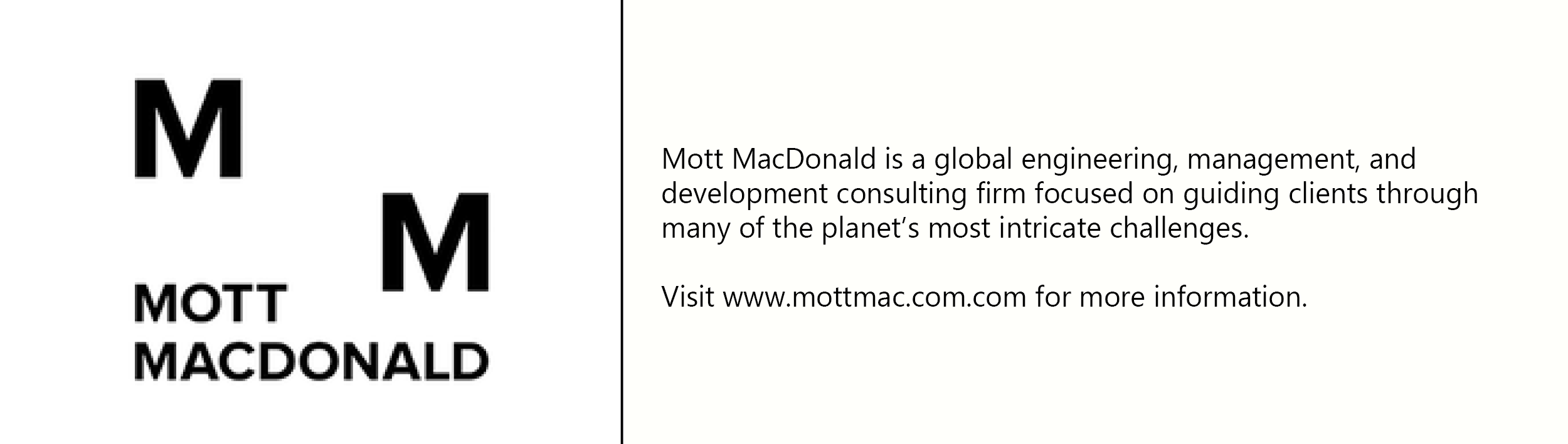 Mott macdonald  logo with description of company