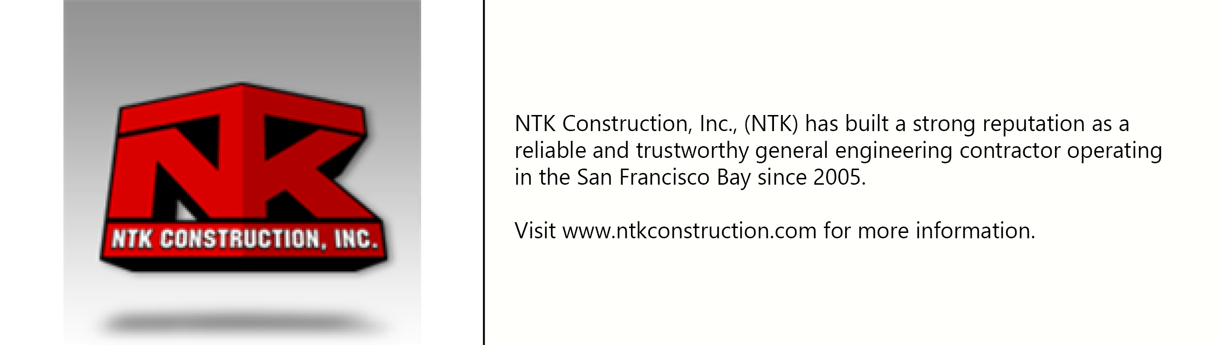 NTK Construction logo with description of company
