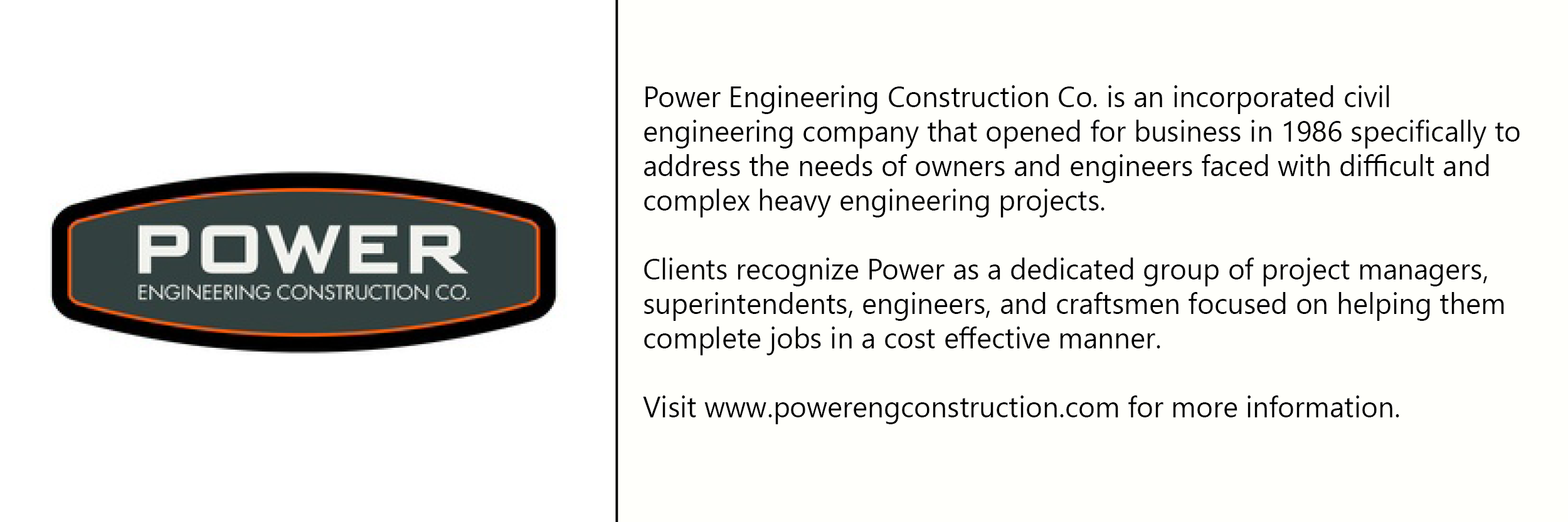 Power engineering  logo with description of company