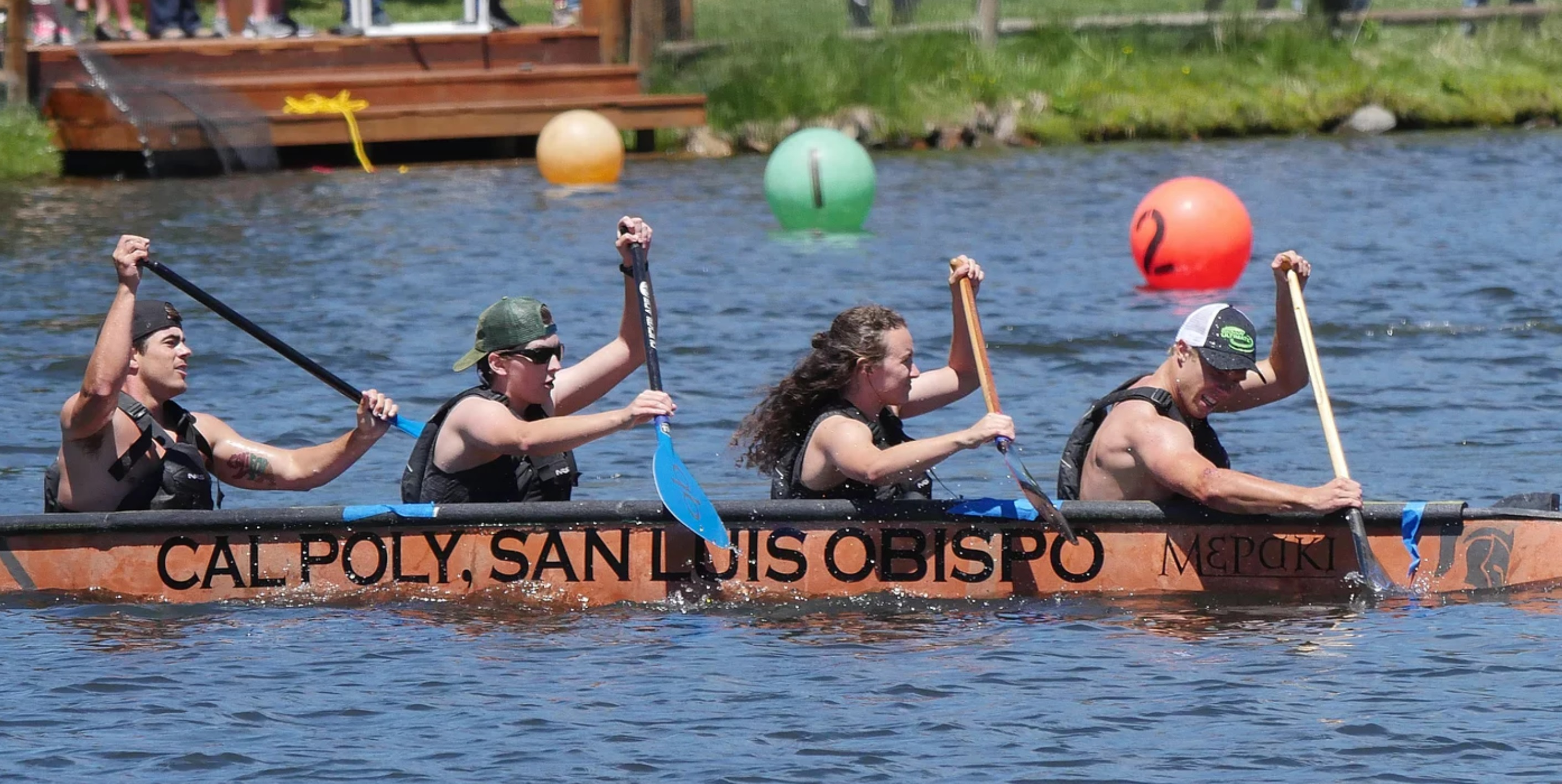 Concrete canoe team paddling