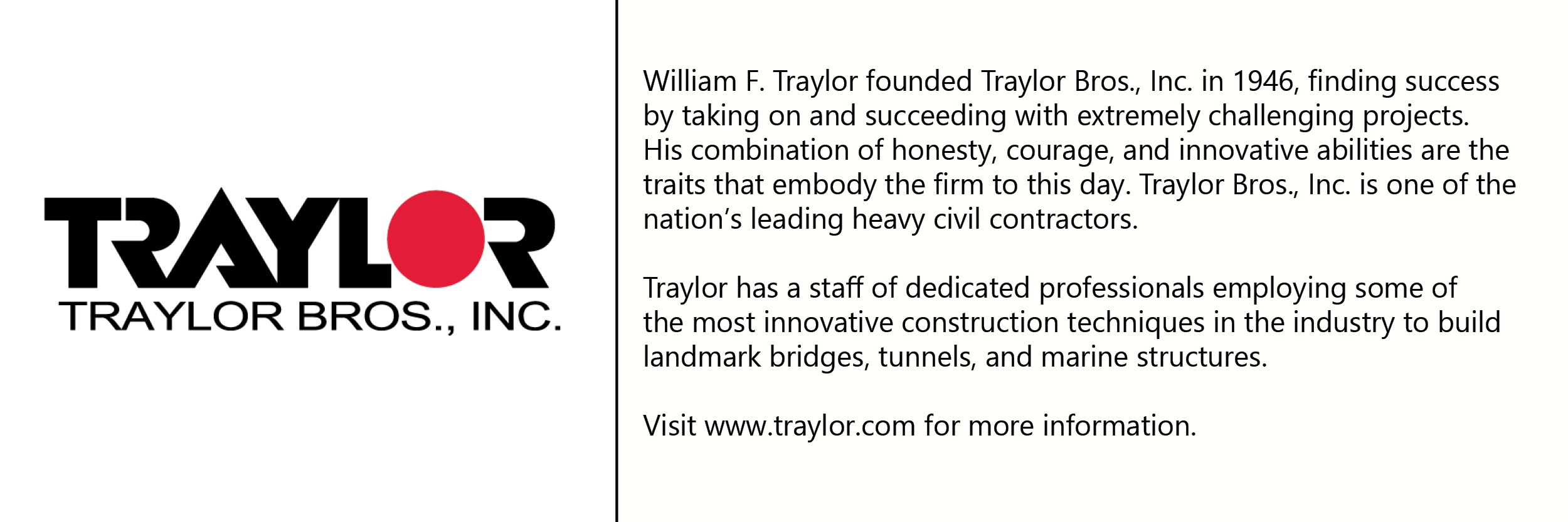 Traylor Bros.  logo with description of company