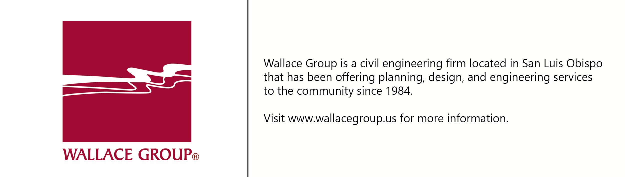 Wallace Group logo with description of company