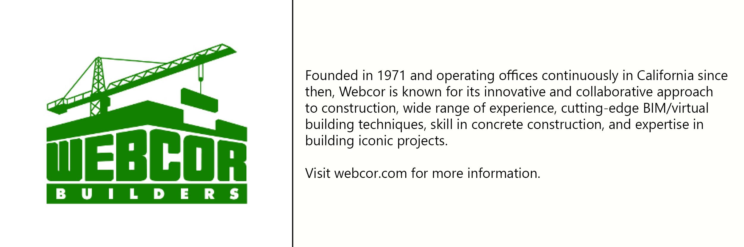 Webcor  logo with description of company