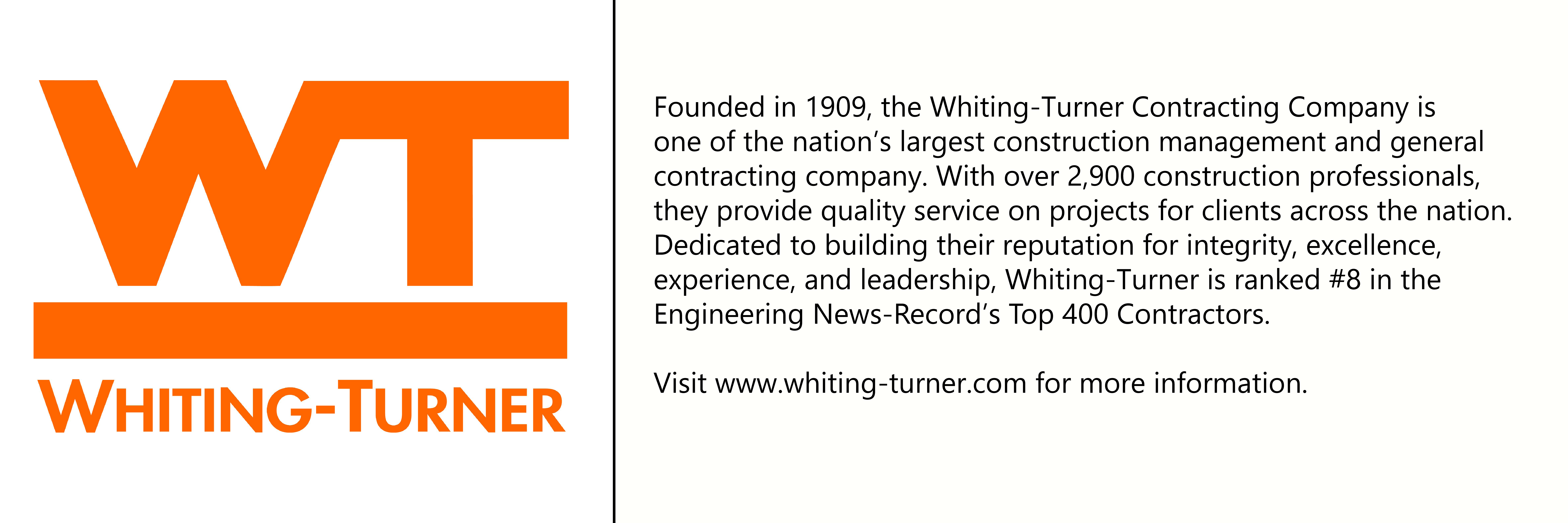 Whiting-Turner logo with description of company