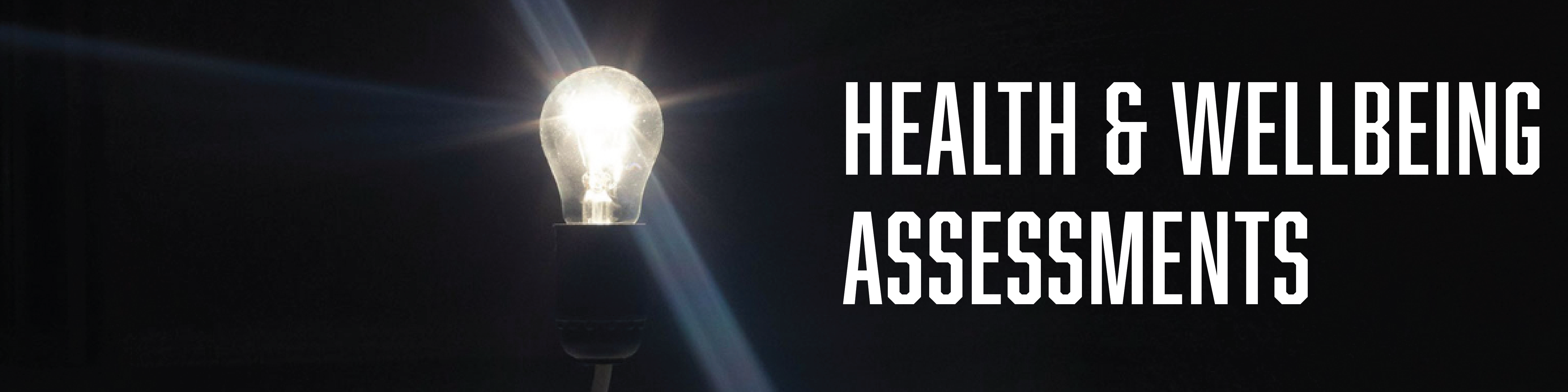Health & Wellbeing Assessments banner with image of lightbulb