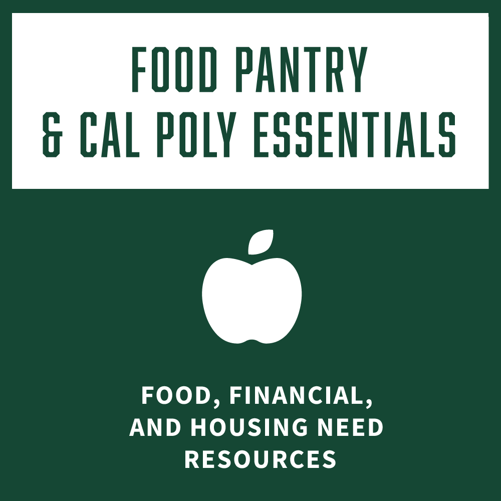 Food Pantry and Cal Poly Essentials Food, Financial, and Housing Need Resources square icon