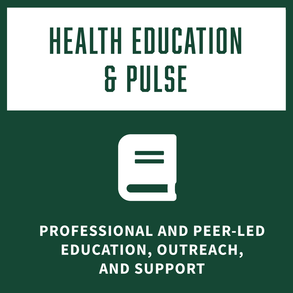 Health Education and PULSE Professional and Peer-led Education, Outreach, and Support square icon