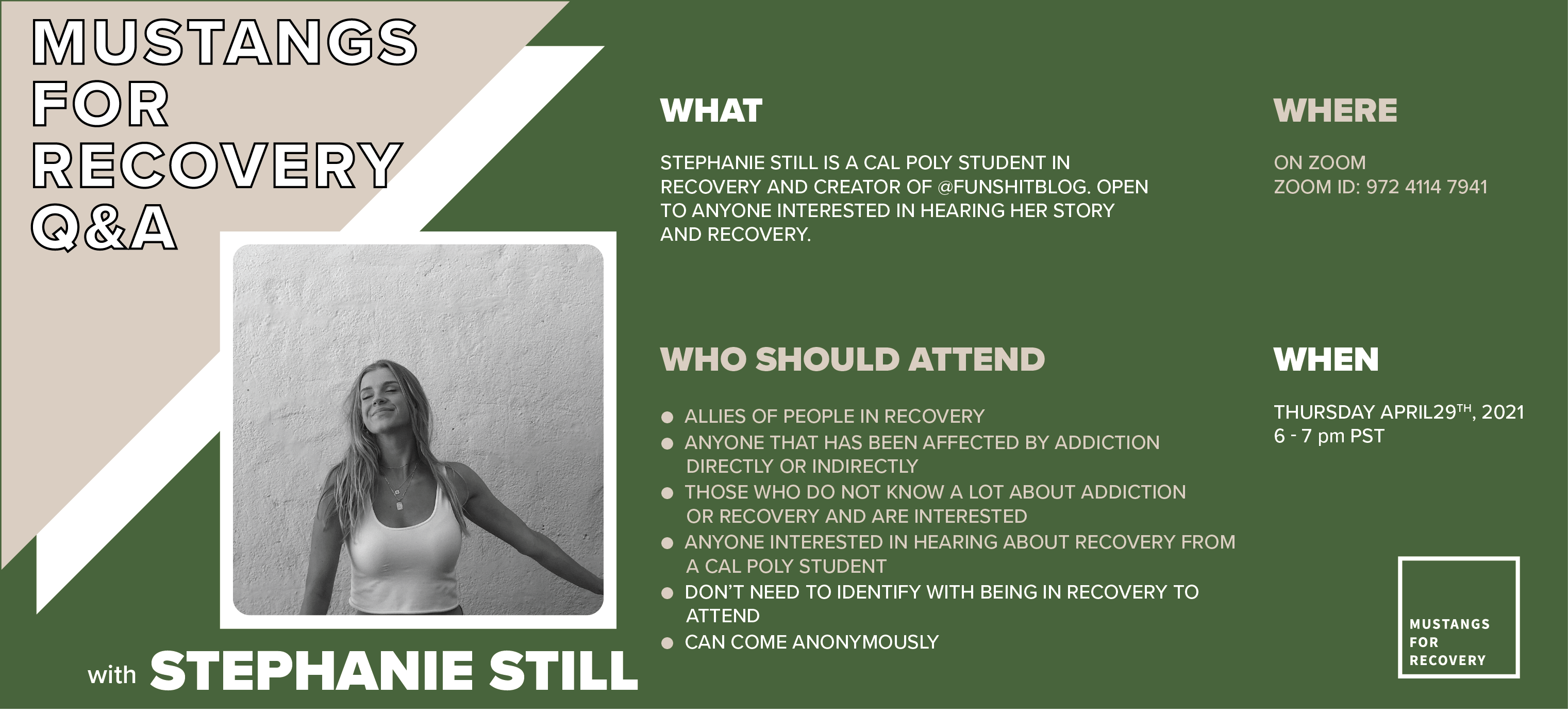 Mustangs for Recovery Q&A advertisement banner with event information