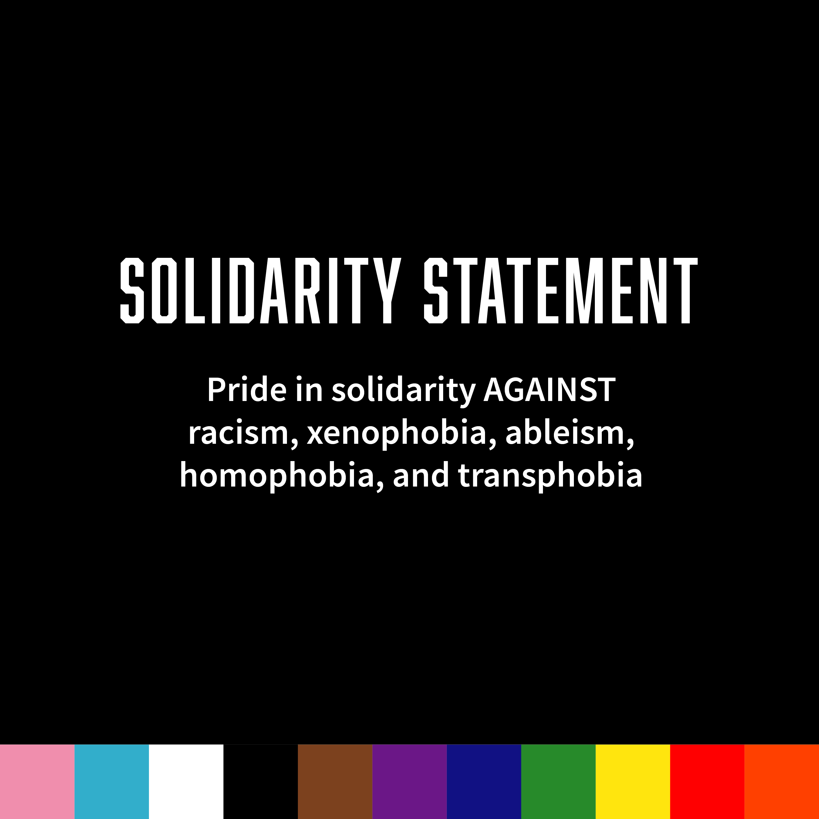 Webpage tab for solidarity statement against racism, xenophobia, ableism, homophobia, and transphobia
