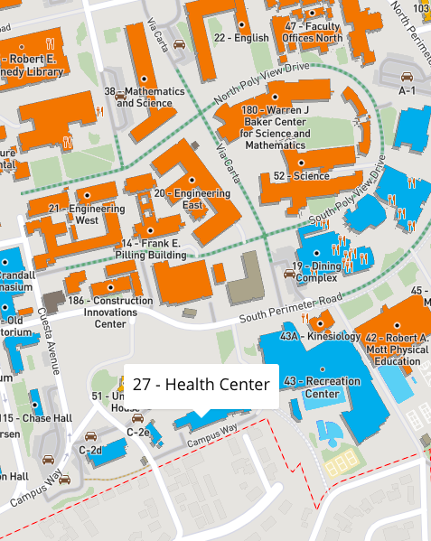 map to Cal Poly Health Center building 27