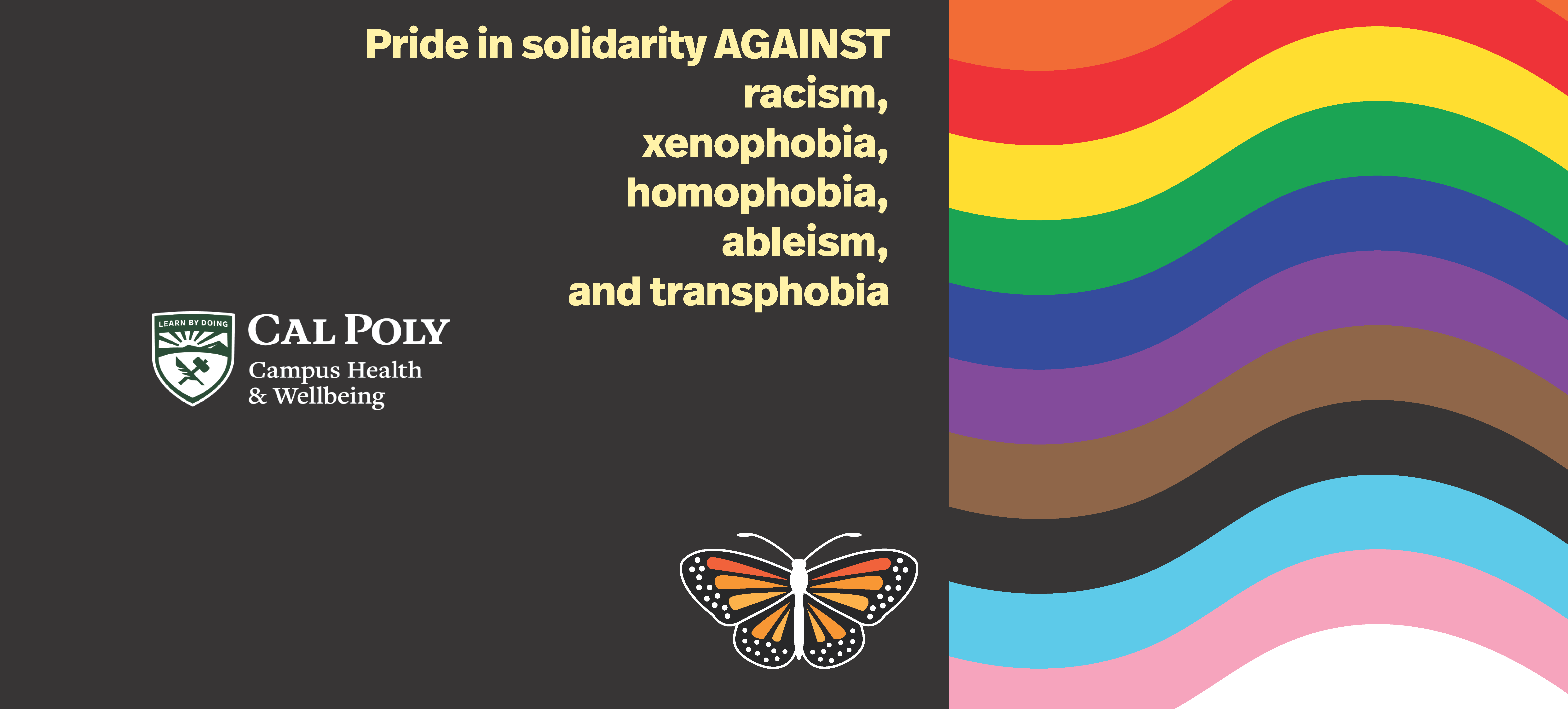 """Cal Poly banner with pride and solidarity flag and statement, """"Pride in solidarity against racism, xenophobia, homophobia, ableism, and transphobia"""""""