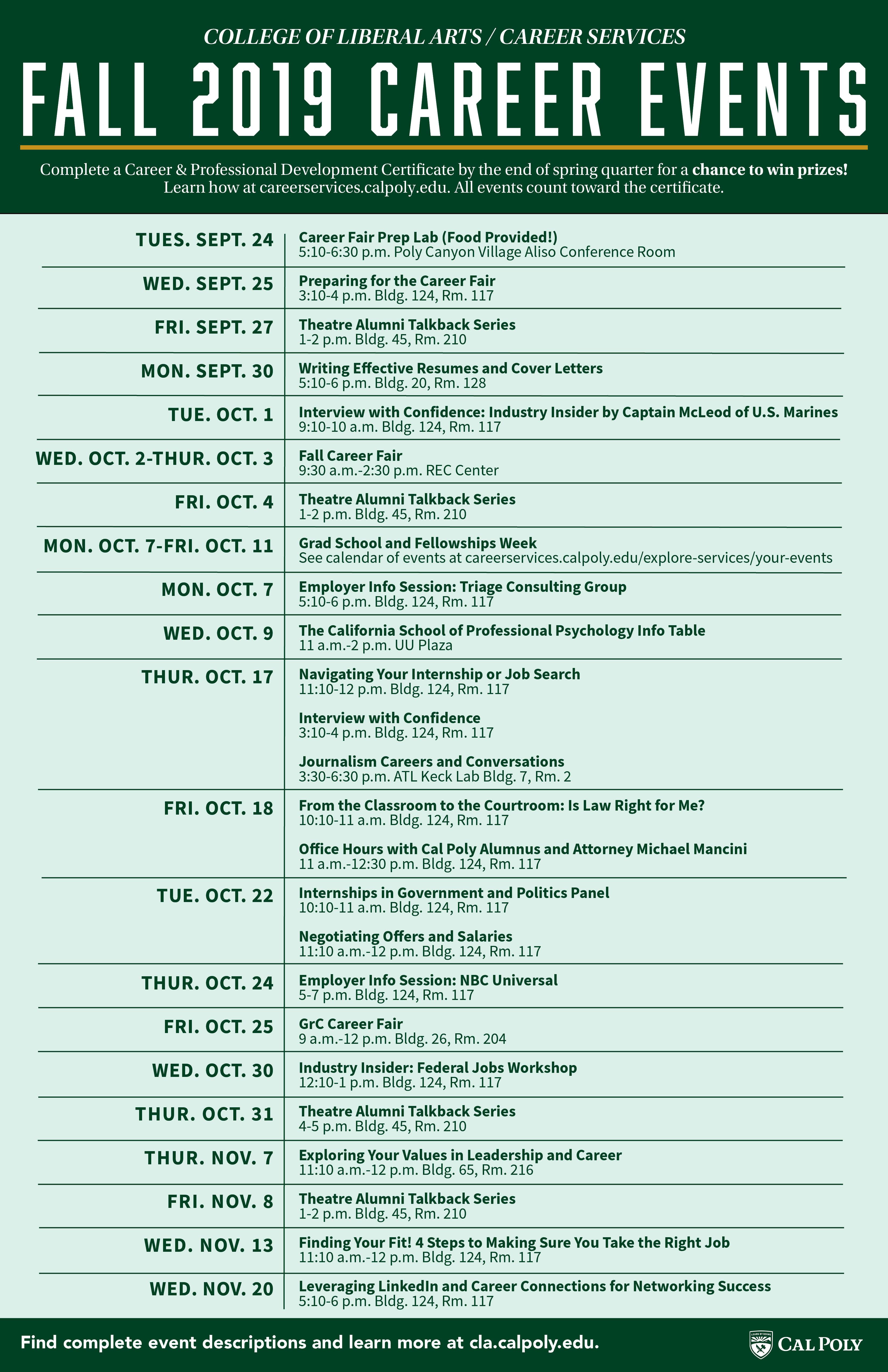 CLA Fall 2019 Career Event Schedule