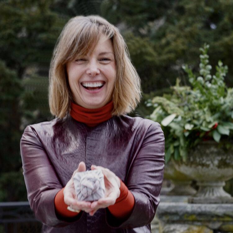 Cindy Estes displays her reusable gift wrap