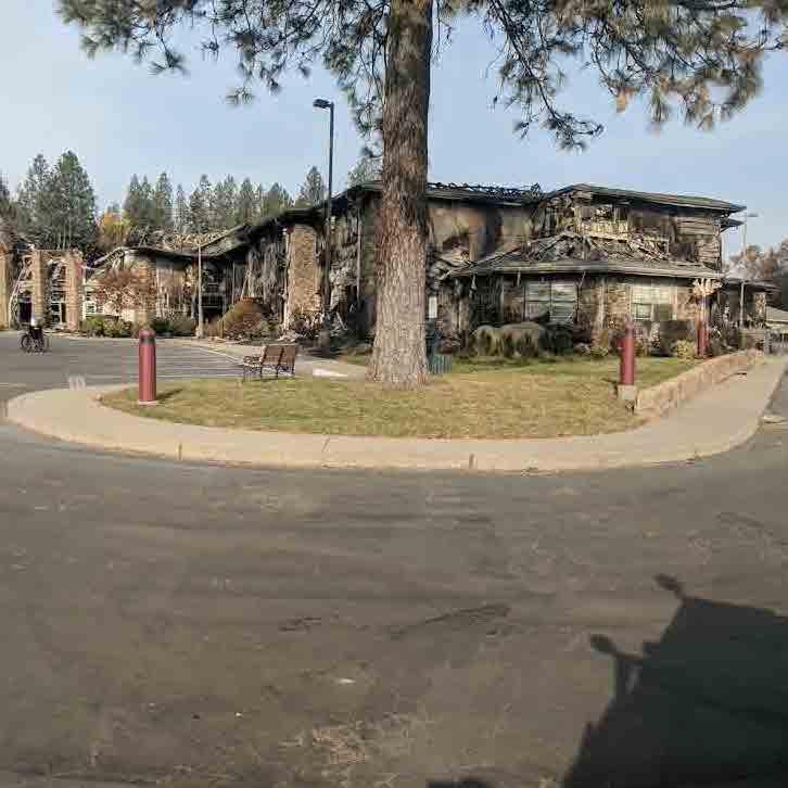 Fricker's burned childhood home.