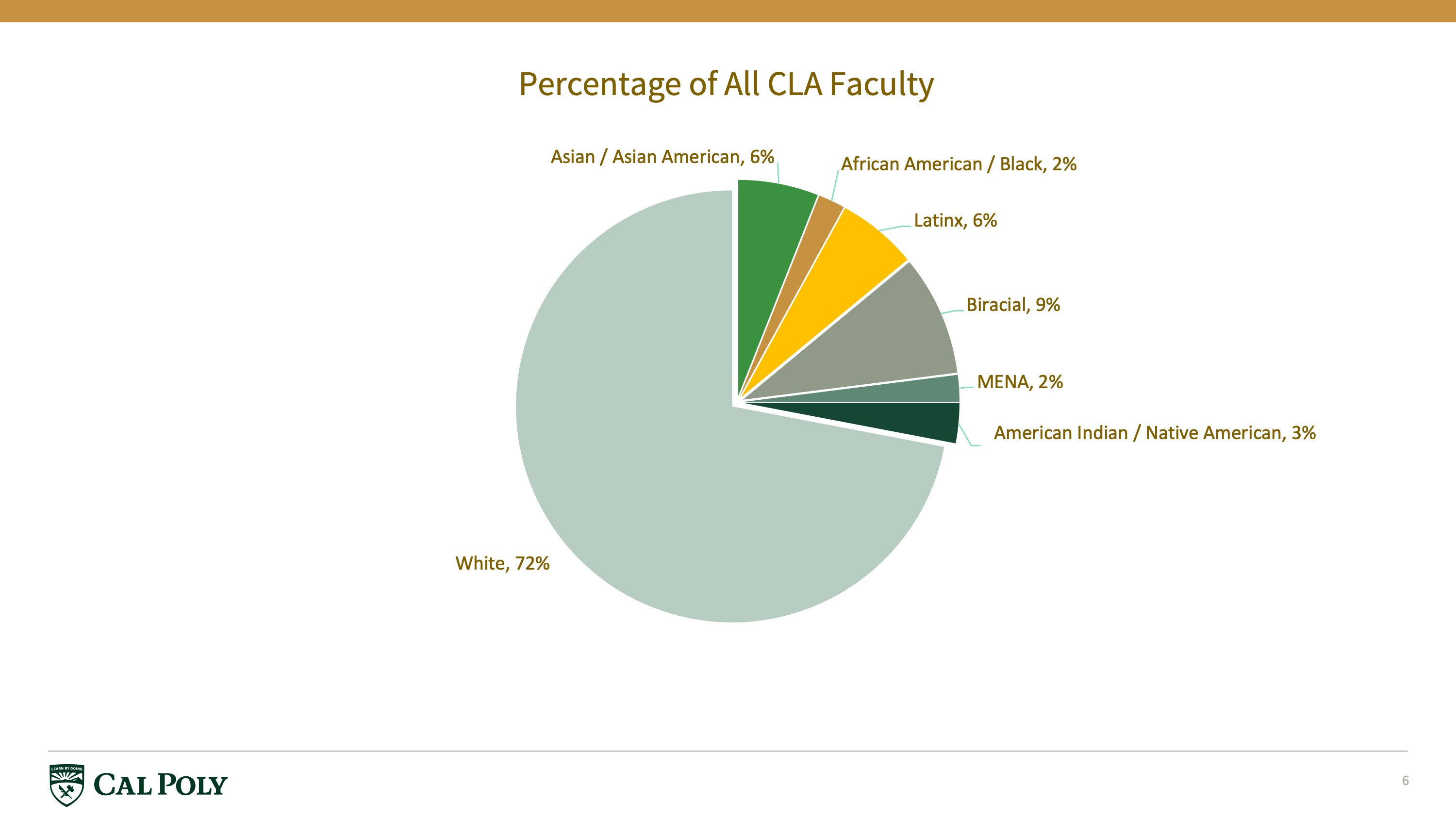 percentage of faculty pie chart