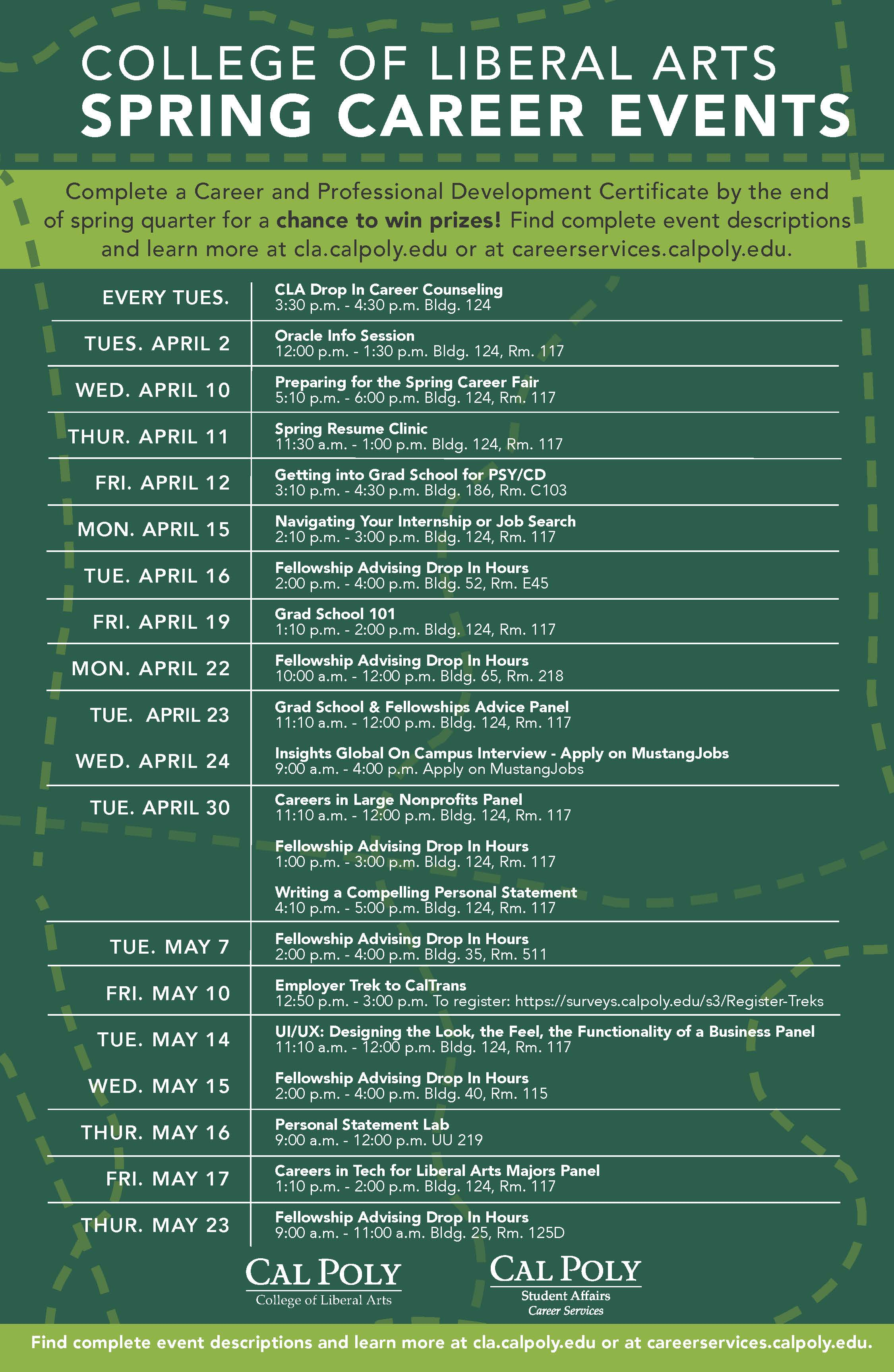 CLA Spring 2019 Career Event Schedule
